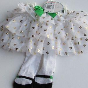 Koala Kids Shamrock Skirt with tights 0-3 Months